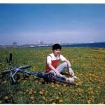 Biking along lakeshore