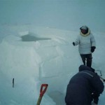 fixing the entrance of the igloo